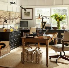 pottery barn office - for Him. blacks, browns. neutrals. fresh greenery.