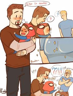 Read Holi from the story Imágenes Yaoi DC y Marvel by almene_asesina (loka del yaoi) with reads. Uuuh yaoi hermozo e. Baby Avengers, Avengers Humor, Marvel Jokes, Avengers Comics, Funny Marvel Memes, Dc Memes, Funny Comics, Spideypool, Superfamily Avengers