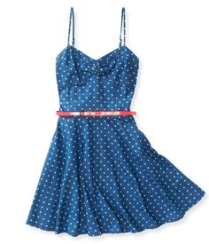 Belted Chambray Dress - Aeropostale