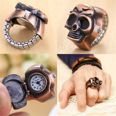 I0 Fashion Unisex Retro Vintage Finger Skull Ring Watch Clamshell Watch Men women watches Pocket Watces wholesale