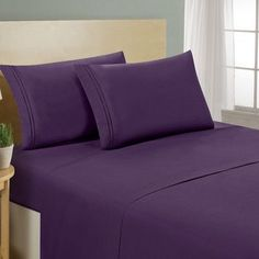 Luxe Home Collections 1500 Series Premium 4 Piece Bed Sheet Set Color: Eggplant Purple, Size: Full