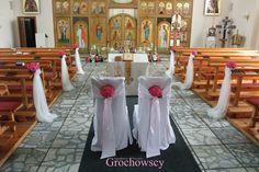 dekoracja cerkwi kościoła na ślub Człuchów dekoracja ławek ślubna alejka