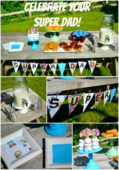 Father's Day Party Ideas - Super Dad Doughnut Breakfast #FathersDay http://www.momsandmunchkins.ca/2014/06/03/fathers-day-party-ideas/
