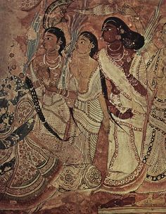 where is your blouse young lady? part of an amazing temple painting of Parvati with her companions from Lepakshi, Andhra Pradesh. no choli needed 450 years ago, evidently Mural Painting, Mural Art, Murals, Traditional Paintings, Traditional Art, Ajanta Caves, Indian Folk Art, Indian Paintings, Vintage Paintings