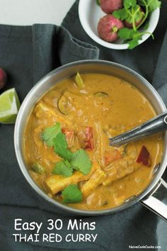 Easy Thai Red Curry Recipe - IN MEXICO, SCALLOPS, MUSHROOMS, BAMBOO SHOOTS, BABY CORN, PEA PODS-DRIZZLED WITH EXTRA COCONUT MILK TO SERVE