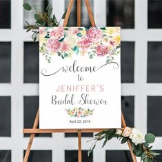 Floral Bridal shower welcome sign, printable bridal shower welcome sign, floral watercolor, bridal shower decoration, baby shower sign Bridal Shower Welcome Sign, Bridal Shower Signs, Baby Shower Signs, Bridal Shower Decorations, Bridal Showers, Print And Cut, Twinkle Twinkle, Printing Services, Tent