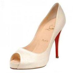 Christian Louboutin Very Prive 120mm Satin Bridal Pumps - Oyster White : Christian Louboutin shoes, christian louboutin us