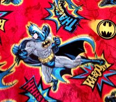 Batman fabric comic book style in red background. by JeAdore, $7.50