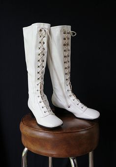 Go Go Boots Granny Boots White Made in Japan by PetticoatsPlus