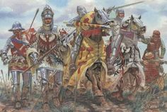 Du Guesclin 100's Years war: French knights with horses and foot soldiers Italeri