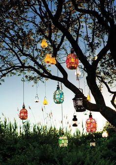 dangling lanterns from trees #lanterns