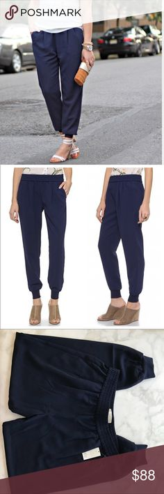 "Joie NWT navy mariner cropped jogger pants medium Joie NWT navy ""mariner"" cropped jogger pants. Still on the website for $168. Crafted in drapey crepe, our Mariner cropped pants features a tapered, cropped leg, slouchy fit, elastic waist and off seam front pockets. The Mariner cropped pairs well with everything for a sporty chic look. 100% Polyester Joie Pants Track Pants & Joggers"