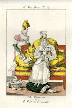 Plate 62: a woman sitting at home on a sofa, drining from a cup of tea, while her maid hands her a pile of bills. October 1813 Hand-coloured etching