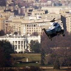 ( - p.mc.n.) Marine One approaches the White House for a landing - shot from another helicopter a few years back.
