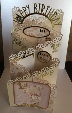 Happy 1st Birthday zig zag card design made using Tattered Lace dies.