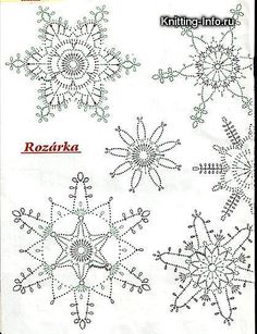 háčkované vianočné ozdoby *** SadaXmas / katval – Her Crochet - knittings christmas Crochet Snowflake Pattern, Crochet Stars, Christmas Crochet Patterns, Crochet Snowflakes, Thread Crochet, Crochet Stitches, Christmas Snowflakes, Christmas Knitting, Christmas Holiday