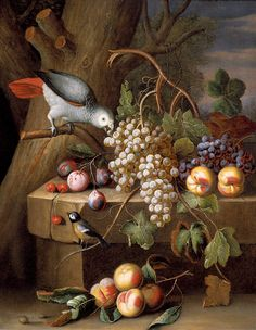 Stranover, Tobias - Still Life with Fruit and Birds. Sibiu 1684 - after 1731 London. Canvas, 88 x cm. Hoogsteder & Hoogsteder, The Hague Fruit Painting, Oil Painting On Canvas, Bird Canvas, Still Life Images, Still Life Fruit, Painting Still Life, Old Paintings, Fruit Art, Arte Floral