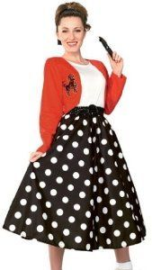 104 50s style Sock Hop Polka Dot Rocker Costume Theme Party Outfit -Modest Halloween Costume.