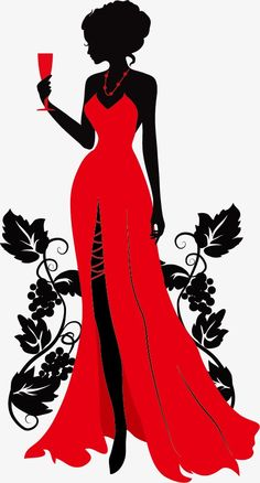 Único y Creativo Wearing A Beautiful Red Dress, Silhouette Figures, Wineglass, Beauty PNG and Vec. Wearing A Beautiful Red Dress, Silhouett. Silhouette Art, Woman Silhouette, Dress Silhouette, Beautiful Red Dresses, Black Women Art, Background Vintage, Fashion Art, Fashion Design, Emo Fashion