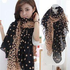 Women Fashion Pretty Long Soft Chiffon Polka Dot Scarf Wrap Shawl Stole Scarves #Unbranded #Scarf #All