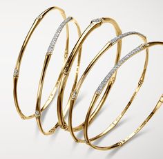 Gold Bamboo bangles with Diamond pavé. #JohnHardy