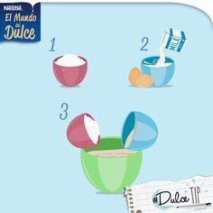Para mejores resultados, mezcla todos los ingredientes secos, como la harina y el polvo de hornear; y aparte los húmedos, como mantequilla, vainilla y leche.    10995860_610520715756272_339210210452377961_n.png (960×960)