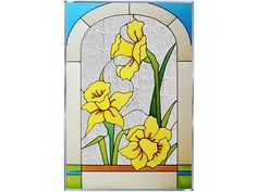 14x20 DAFFODIL Floral Stained Art Glass Hanging Suncatcher Panel