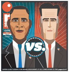 RedEye's Trent J. Koland built these wonderfully graphic dual portraits of President Barack Obama and former Massachusetts Gov. Mitt Romney for today's front page.