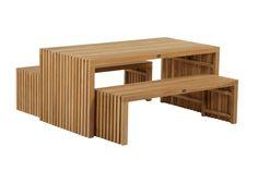 Langelinie havesæt - bord og to bænke - Havebord - Havemøbler - Mandalay A/S