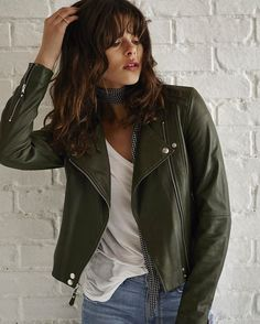Currently lusting over our Army leather for the season - available in a moto jacket, bomber and high-rise skinny... Link in bio to check it out! #LIVEINIT