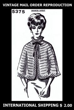5375 Vint 60's Mail Order CUTE CROCHETED Crochet Crocheting Womens CAPE CAPELET  #PATTERNPEDDLER5375