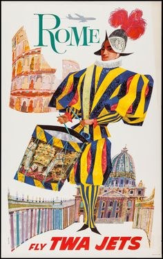TWA Airlines Rome (1960). Travel Poster