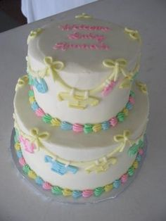 Baby Clothes Cake: Baby Clothes Cake  This is a two tiered stacked cake. The bottom tier is a two-layer 8 round, and the top is a two-layer 5 round. Both tiers are iced in