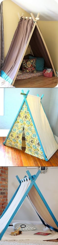 DIY Play Tent. Carson would love one. Maybe I will get a chance to give her one in her new room.