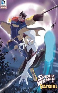 Spider-Gwen and Batgirl by Tovio Rogers Nightwing, Dc Batgirl, Batwoman, Batgirl Cosplay, Marvel Dc Comics, Hq Marvel, Bd Comics, Comic Book Characters, Comic Character