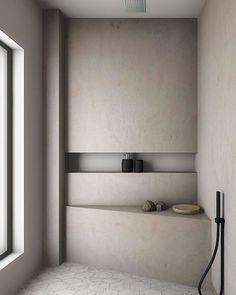 "𝐀𝐇𝐈 𝐋𝐮𝐬𝐭𝐟𝐨𝐫𝐈𝐧𝐭𝐞𝐫𝐢𝐨𝐫's Instagram profile post: ""Concrete open shower | beehive floor"" Bad Inspiration, Bathroom Inspiration, Home Decor Inspiration, Bathroom Inspo, Master Bathroom, Dyi Bathroom, Remodel Bathroom, Bathrooms, Decor Ideas"