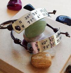 Longitude Latitude Bracelet  Hand Stamped by BlueCornerCreasigns