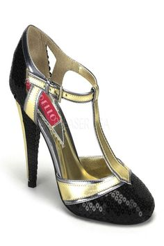 The features include a metallic faux leather upper in a T strap design with side buckle closure, sequins detailed closed toe and back heel, stitched detailing, smooth lining, and finished with a cushioned footbed. Approximately 4 inch heels. PLEASE NOTE: THERE IS A 15% RESTOCKING FEE FOR RETURNS.  PLEASE NOTE: Due to the popularity of this item it may take an additional 4 day for processing of this item. 2 Day shipping will not expedite this only the shipping time. For mo…