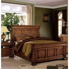 Shop for Furniture of America Claresse Traditional Tobacco Oak Panel Bedroom Set. Get free delivery On EVERYTHING* Overstock - Your Online Furniture Shop! Get in rewards with Club O! Small Room Bedroom, Bedroom Sets, Small Rooms, Queen Bedroom, Queen Beds, Oak Bedroom Furniture Sets, Brown Furniture, Empire Furniture, Bedroom Vintage