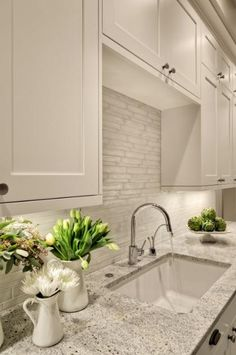 white backsplash; love this kitchen!!