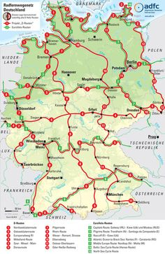 Bike routes across Germany - camping - Fahrrad Rando Velo, Touring Bike, Touring Bicycles, Bicycle Maintenance, Cycling Art, Germany Travel, Road Bike, Road Trip, Tours