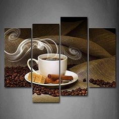 Cup Of Coffee And Coffee Bean Brown Wall Art Painting Pictures Print On Canvas Food The Picture For Home Modern Decoration