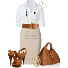Tan skirt, white shirt w/brown accessories