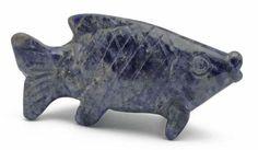 Fish Blue Sodalite Hand Carved Gemstone Animal Totem Statue Stone Sculpture