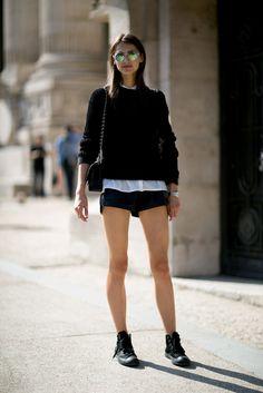 Short shorts and big shades.