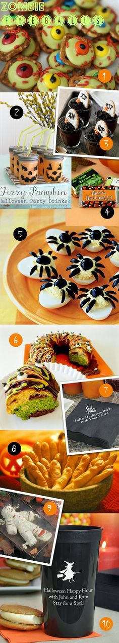10 Easy DIY Halloween Wedding and Party Treats - Just for fun we thought we would share some of our favorite Halloween treat recipes and ideas for your spooktacular party this year.  Have fun picking out your favorite poison (cue cackle).  Or mix and match to create a true monster bash. See them all at http://blog.myweddingreceptionideas.com/2013/09/10-easy-halloween-treats.html