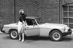 Purdey's wheels Yes it's actress Joanna Lumley again – this time it's 1976 and she's filming a scene as Purdey for the hit TV series The New Avengers. Purdey's car of choice was an MGB - Hulton Archive/Getty Images