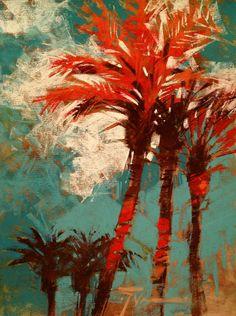 Show Girls by Jennifer Evenhus Pastel ~ 12 x 9 Pastel Landscape, Abstract Landscape, Landscape Paintings, Pastel Artwork, Paintings I Love, Pastel Paintings, Tropical Art, Coastal Art, Tree Art
