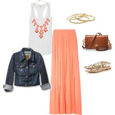 """Coral Maxi Skirt"" Cute idea for my Hawaii vacay!"