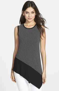 Vince Camuto Contrast Hem Stripe Sleeveless Asymmetrical Top available at Look Fashion, Fashion Outfits, Womens Fashion, Fashion Trends, Diy Clothes, Clothes For Women, Asymmetrical Tops, Top Pattern, Refashion